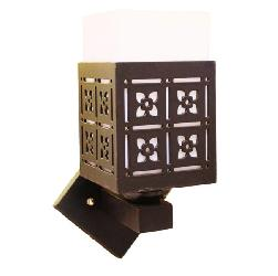 Dark Wood Touch and Fiber Lamp Square Shape Wall Lamp Light For Hall and Kitchen