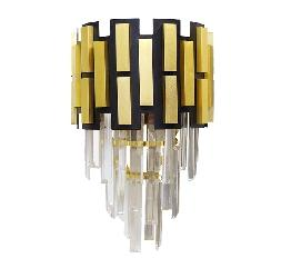 Modern Design and Gold and Black Finish Wall Fixture Crystal Decor Lamp
