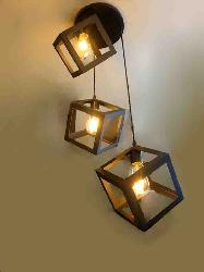 Filament Bulbs Hanging Light With Cube Pattern