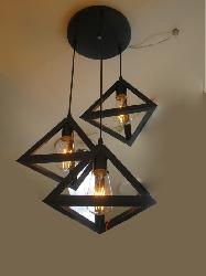 Triangle Metal Shade Hanging Light With Edison Filament Bulb