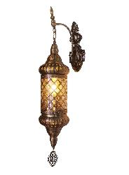 The Antique Gold Rustic Finish Metal Body and Glass Lamp Mughal Style Downlighter Antique Design Wall Lamp For Home Decoration