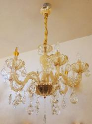 Medium Size Traditional Style Crystal Decor and Glass Lamp Candle Holder Pattern Italian Design Chandelier