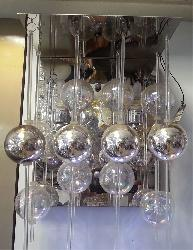 Hanging Glass Ball Wall Fixture Lamp With LED Light
