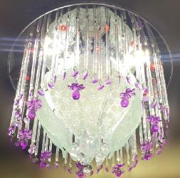 Glass Pencil and Crystal Pendant Multi color LED Light and Musical Ceiling Surface Chandelier