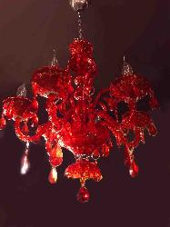 Fantastic Red Shade Italian Chandelier