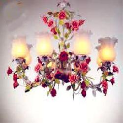 Rose Flower Decorate Glass Hanging Chandelier