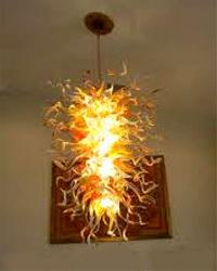 Glossy Yellow Murano Glass Hanging Chandelier