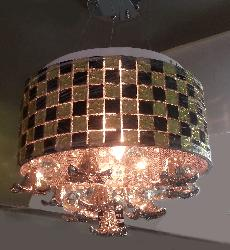 Golden Black Brick Pattern with Crystal Multicolor Hanging Chandelier
