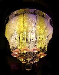 Flower Decorate Crystal With RGB Led Musical Chandelier