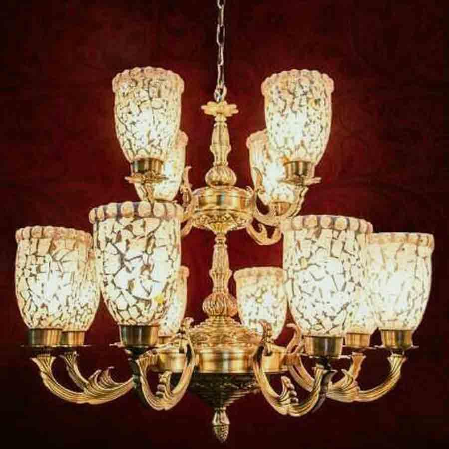 Check Pattern Glass Antique Chandelier