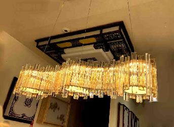 Crystal Hang Rectangle Shape Luxury Pendent Chandelier