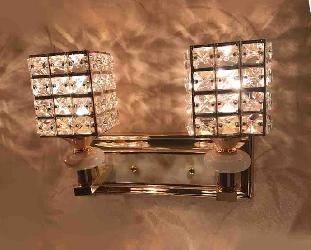 Square Shape Crystal Decorate Double Wall Lamp