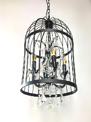 Birdcage Crystal Decorative Antique Metal Hanging Chandelier