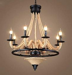 Beautiful Rope Decorate Wheel Antique Chandelier