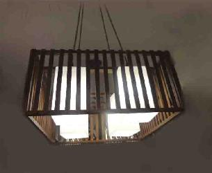 Square Shape Wooden Pendent Chandelier